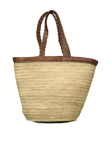 French Connection Women Beige Straw Bag