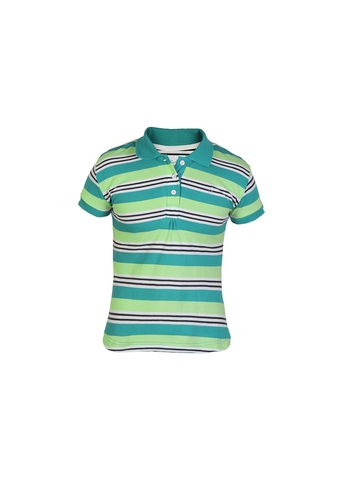 Gini and Jony Girls Polo Striped Blue T-shirt