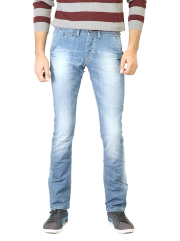 United Colors of Benetton Men Blue Washed Jeans