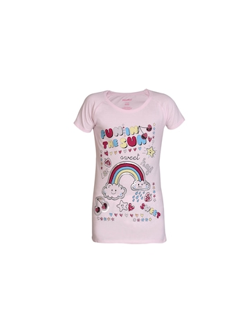 Kids Ville Girls Pink Printed Top