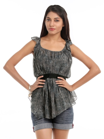 Femella Women Grey Snake Printed Top
