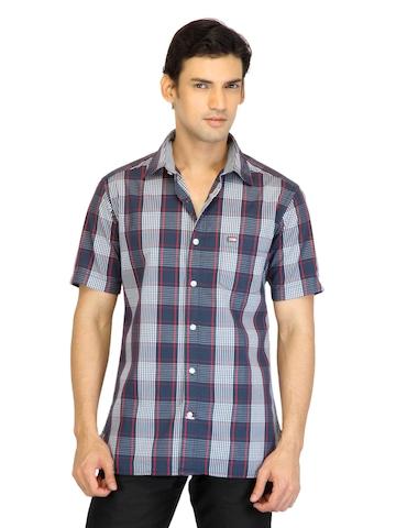 Arrow Sport Men Navy Blue Check Shirt