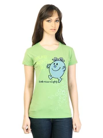 Little Miss Women Printed Green T-shirt