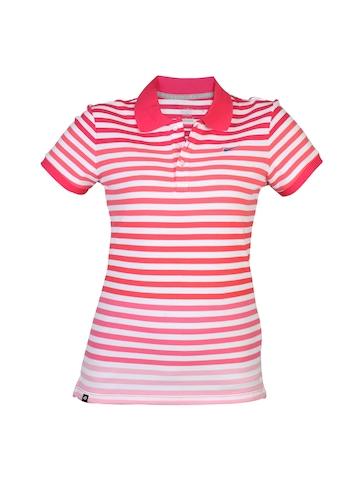 Nike Women Polo Pink Striped T-shirt