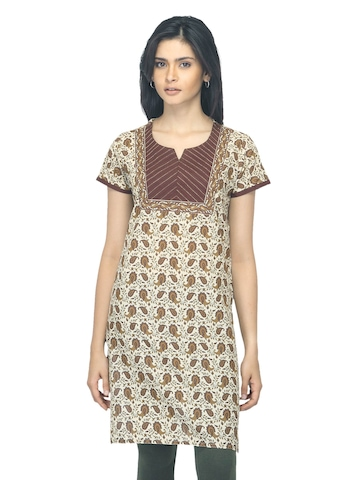 Vishudh Women Printed Brown Kurta