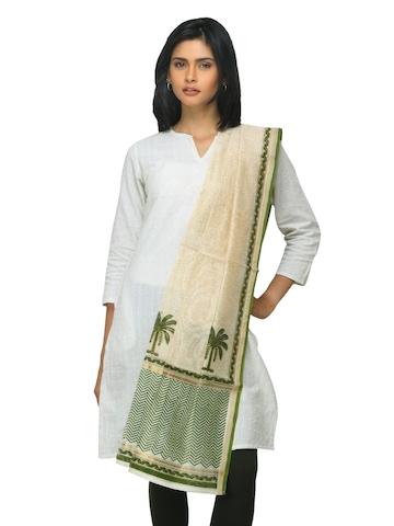 Fabindia Women Green Chanderi Dupatta