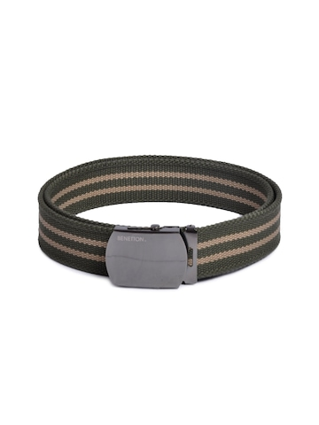 United Colors of Benetton Men Stripes Green Belts