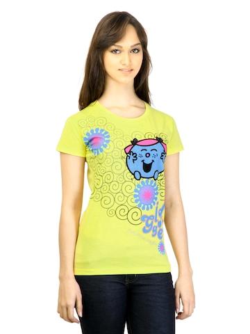 Little Miss Women Printed Yellow T-shirt