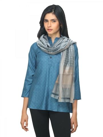 Fabindia Women Grey Jacquard Silk Stole