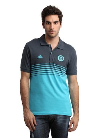 Adidas Men Grey & Blue Chelsea Polo T-shirt