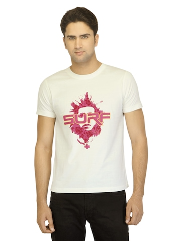 Myntra Men Surf Face Off White T-shirt