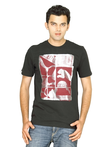 Puma Men's Graphic Optic Black Silver T-shirt