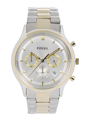 Fossil Men Silver-Toned Dial Chronograph Watch FS4643
