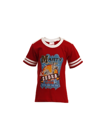 Madagascar3 Boys Red Printed T-Shirt