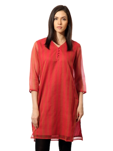Fabindia Women Red Striped Kurta