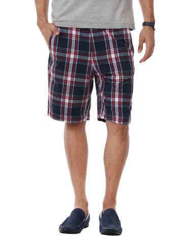 Myntra Men Navy Blue Check Shorts