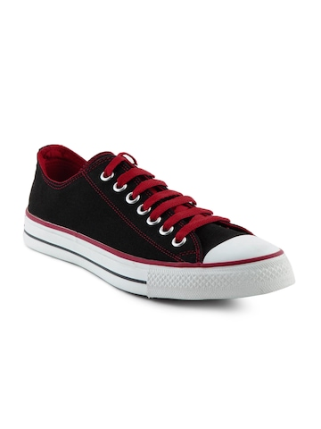 Converse Men Red Lace Black Shoes