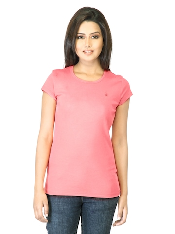 United Colors of Benetton Women Peach T-shirt