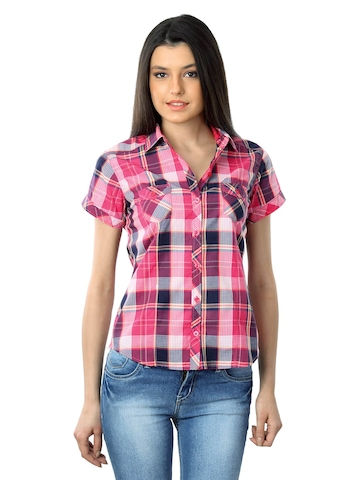 Lee Women Pink & Navy Blue Check Shirt