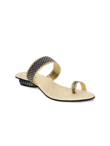 Portia Women Navy & Gold-Toned Sandals