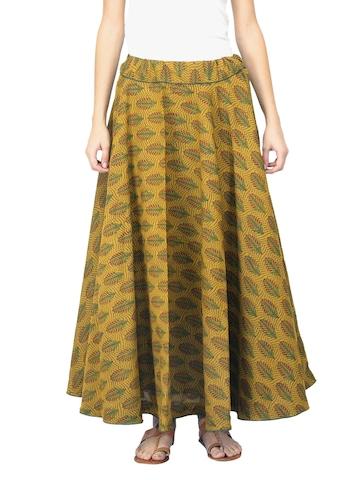 Fabindia Women Printed Mustard Skirt