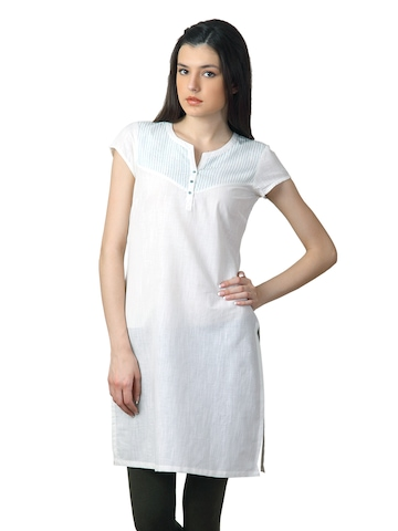Aurelia Women Placket White Kurta