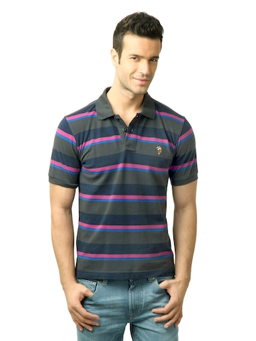 U.S. Polo Assn. Men Stripes DK.Grey Polo Tshirt