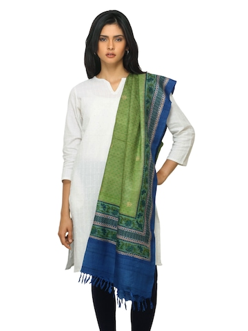 Fabindia Women Green Silk Dupatta