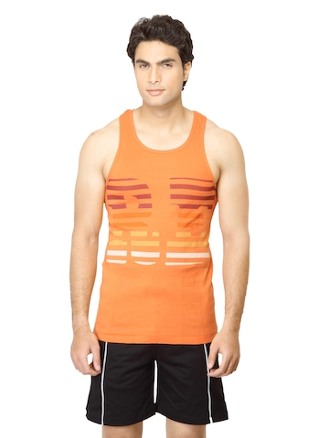 Facit Men Printed Orange Innerwear Vest