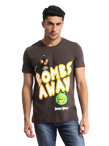 Angry Birds Men Printed Charcoal Grey T-shirt