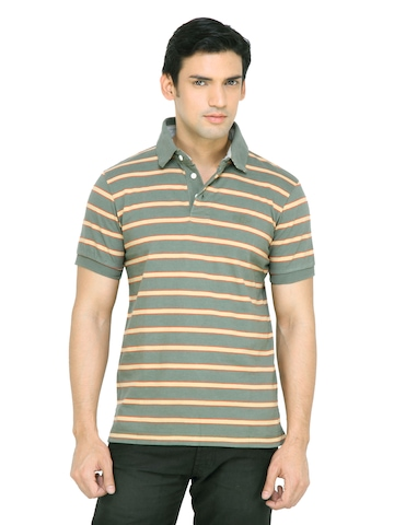 Arrow Sport Men Green Striped T-shirt