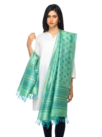 Fabindia Women Green Silk Dupatta