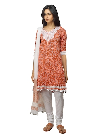 Biba Women White and Orange Salwar Suit