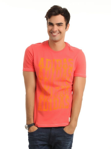 Adidas Men Coral Red Printed T-shirt