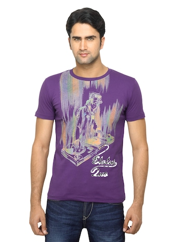 Status Quo Men Printed Purple T-shirt