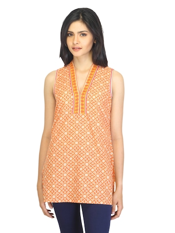 Aurelia Women Printed Orange Kurti