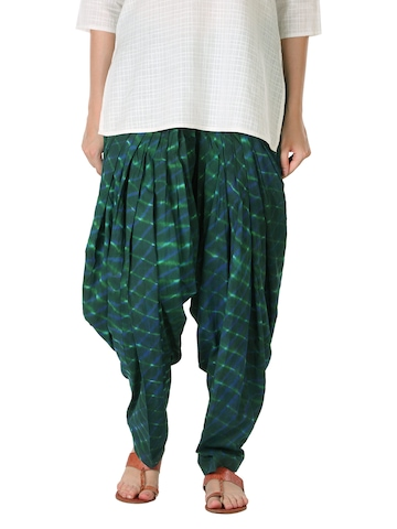 Fabindia Women Printed Green Patiala