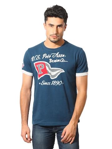 U.S. Polo Assn. Men Printed Navy Blue T-Shirt