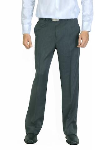John Miller Men Striped Charcoal Trousers