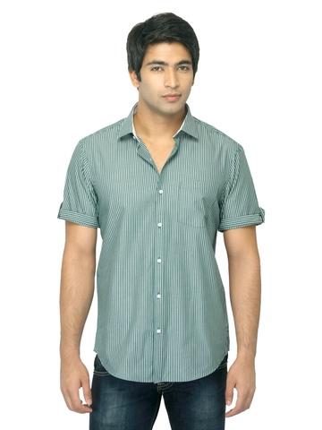 Arrow New York Men Green Striped Slim Fit Shirt