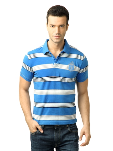 U.S. Polo Assn. Men Stripes Blue Polo Tshirt at myntra