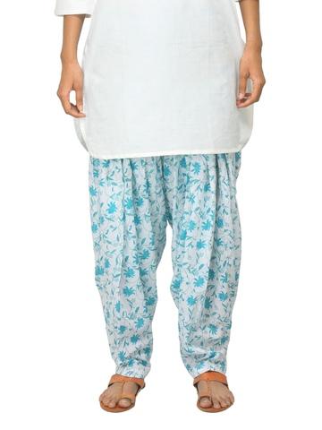 Fabindia Women Printed White & Blue Patiala