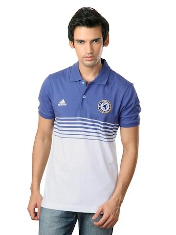 Adidas Men Blue & White Chelsea FC T-shirt