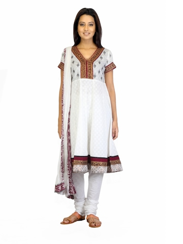 BIBA OUTLET Women Off White Salwar Suit