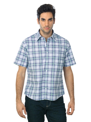 Scullers Men White & Navy Blue Check Shirt