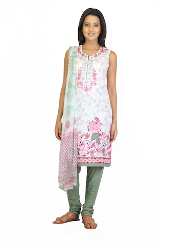 BIBA OUTLET Women Printed White Salwar Suit