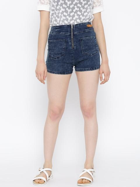 ONLY Blue Zipper Denim Shorts