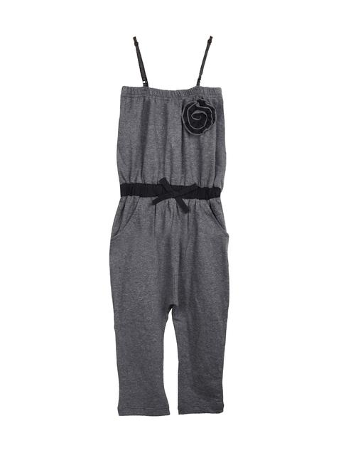 naughty ninos Girls Grey Melange Jumpsuit