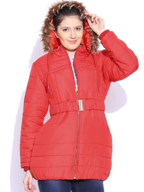 Fort Collins Red Padded Long Jacket with Detachable Hood