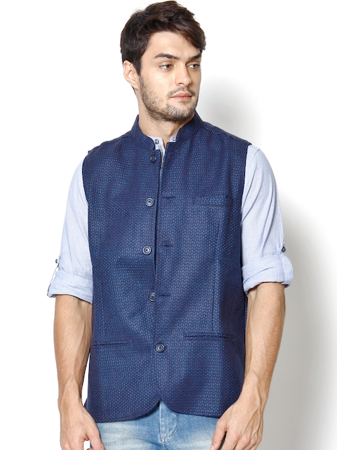 even Blue Woollen Slim Fit Nehru Jacket
